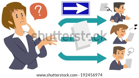 Office worker - one way - stock photo