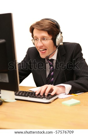 office worker playing games on computer isolated on white