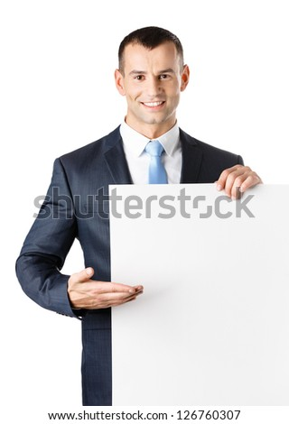 Office worker points with hand at paper copy space, isolated on white