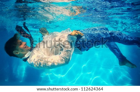 office worker underwater