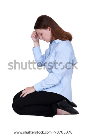 Office worker with a headache - stock photo