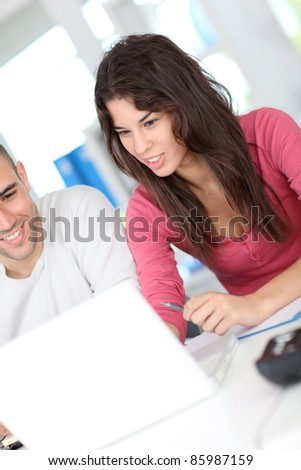 Office workers meeting for work project - stock photo