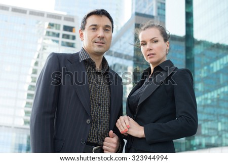 office workers outdoor. Businessman and businesswoman in the city