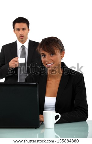 Office workers with coffee - stock photo