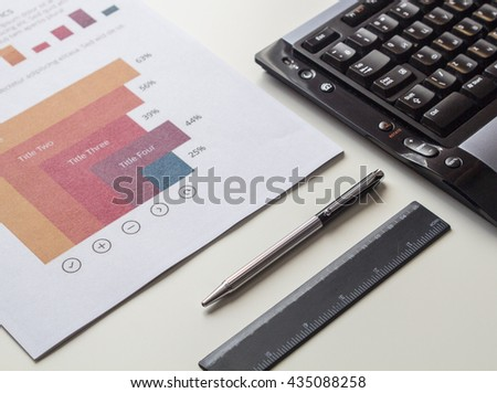 Office working paper with various office accessories