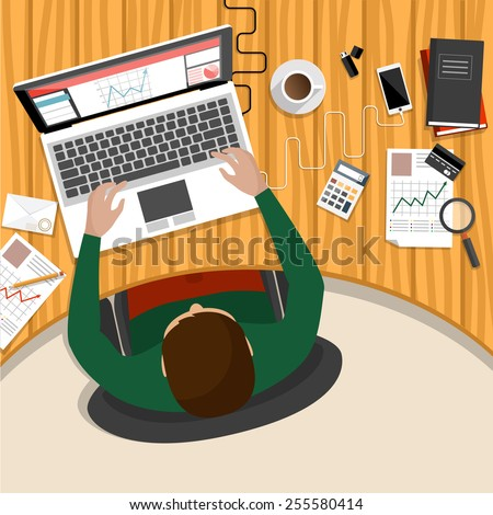 Office workplace. Business man working with laptop and documents on table, top view. Flat design cartoon style. Raster version - stock photo