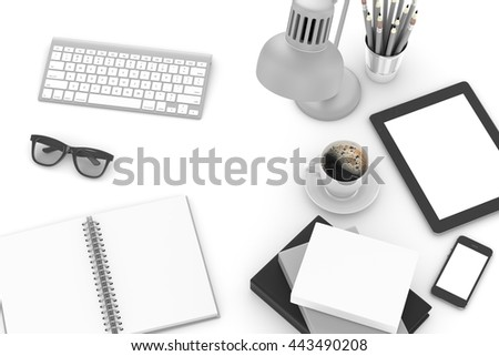 Office workplace set on white table. Pc, tablet, smartphone, notebook, stationery, glasses, cup of coffee, keyboard.