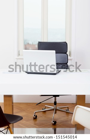 office workplace table and laptop white background architecture nobody - stock photo
