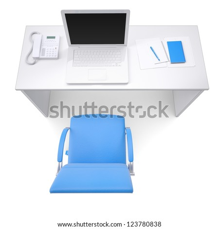 Office workplace. View from above. Isolated render on a white background - stock photo