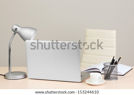 Office workplace with computer, close up - stock photo