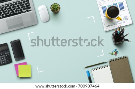 creative office supplies. Office Workplace With Laptop, Notebook, Supplies And Stationery On Turquoise Background. Solution Creative