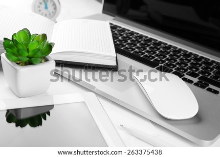 Office workplace with tablet and pot plant close up - stock photo