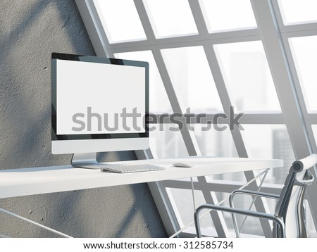 Office workspace with empty computer display. 3d rendering - stock photo