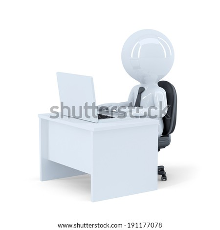 Office wotker. Isolated. Contains clipping path
