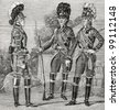 """Officer and a Guardsman at the time of Emperor Paul I (1797). Engraving by  Shyubler. Published in magazine """"Niva"""", publishing house A.F. Marx, St. Petersburg, Russia, 1899 - stock photo"""