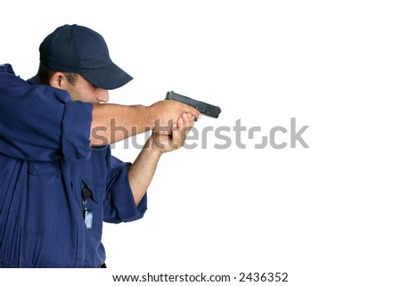 Officer using a weapon during duty or wepons handling training, white background, space for text - stock photo
