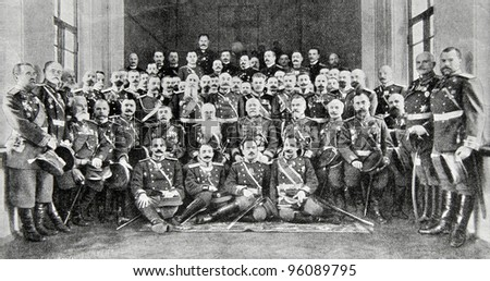 "Officers of the Russian Imperial Army.. Illustration from ""Niva"" magazine, publishing house A.F. Marx, St. Petersburg, Russia, 1913"