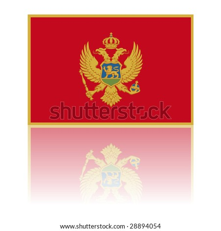 official flag of montenegro with shadow - stock photo