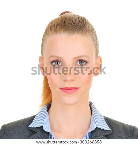 Official photo booth portrait of a woman - stock photo