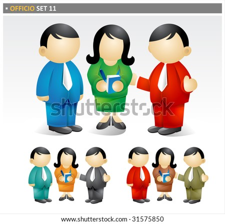 Officio set 11.  Business team members shown in various poses.