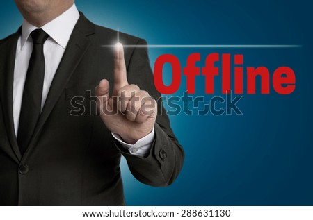 offline touchscreen is operated by businessman. - stock photo