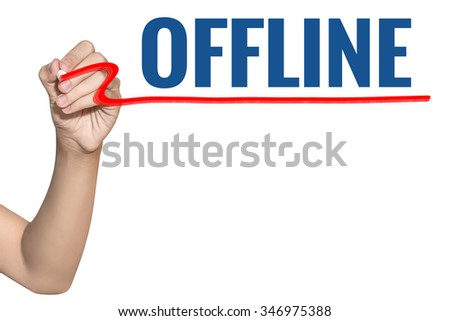 Offline word write on white background by woman hand holding highlighter pen - stock photo