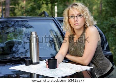 Offroad woman - stock photo