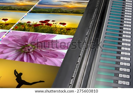 offset machine press print run at table, fountain key color management control unit - stock photo