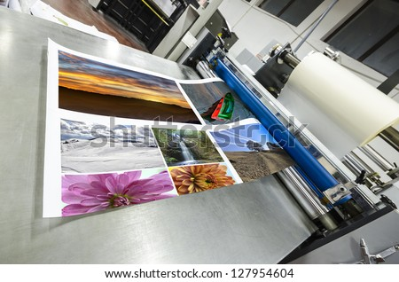 offset machine roll foil laminator - stock photo