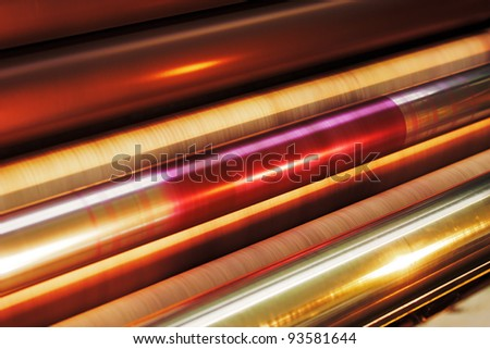 Offset Printing Press – Rollers at Work - stock photo