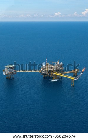 Offshore construction platform for production oil and gas, Aerial view. - stock photo