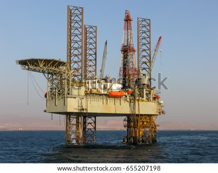 Offshore Drilling Rig above platform in the Gulf of Suez, Egypt