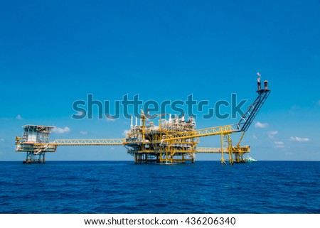 Offshore oil and gas platform,oil and gas platform with blue sky  day