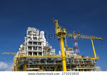 Offshore oil and gas production and exploration business. Production oil and gas plant and main construction platform in the sea. Energy business. - stock photo