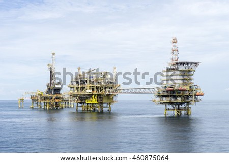 Offshore oil and gas rig platform in the middle of South China Sea.Construction of production process in the sea. Power energy of the world.