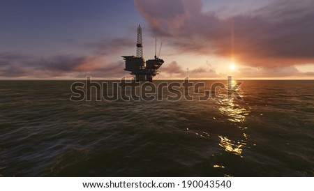Offshore Oil Drilling - stock photo