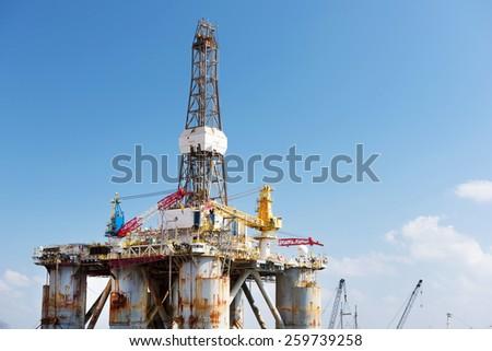 Offshore oil platform - stock photo