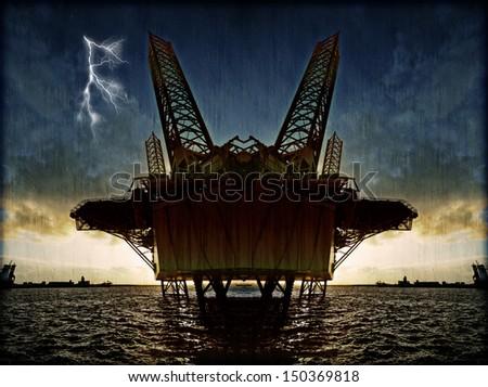 Offshore oil platform illustration - stock photo