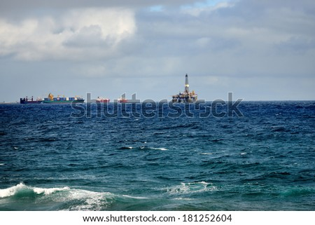 Offshore Oil Platform, Las Palmas de Gran Canaria, Spain - stock photo