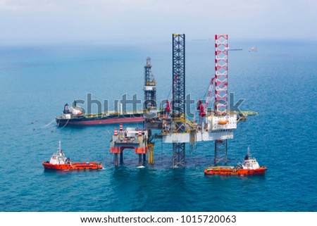 Offshore oil rig platform in the gulf from aerial view