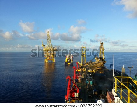 offshore platform marine vessels during pipelay stock photo royalty rh shutterstock com Caldwell Marine Cable Lay Vessel Caldwell Marine Cable Lay Vessel