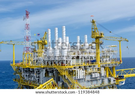 Offshore platform in the south of Thailand - stock photo