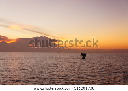 Offshore Production Platform in Evening Time - stock photo