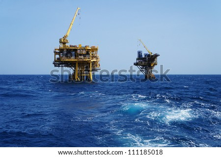 Offshore Production Platforms For Oil and Gas Development - stock photo