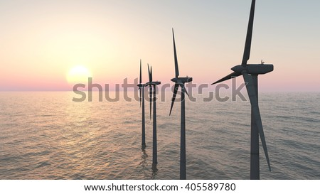 Offshore wind farm at sunset Computer generated 3D illustration