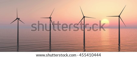 Offshore wind farm at sunset Computer generated 3D illustration - stock photo