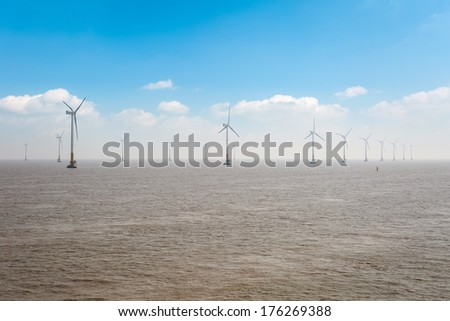 offshore wind farm, clean energy background  - stock photo