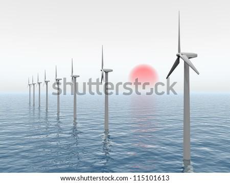 Offshore Wind Farm Computer Generated 3d Stock Illustration ...