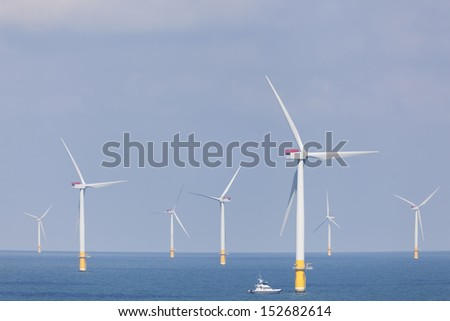 Offshore wind farm in the North Sea - stock photo
