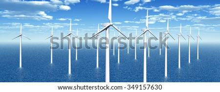 Offshore wind power Computer generated 3D illustration - stock photo